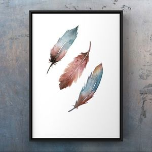 Watercolor modern boho feather wall art print